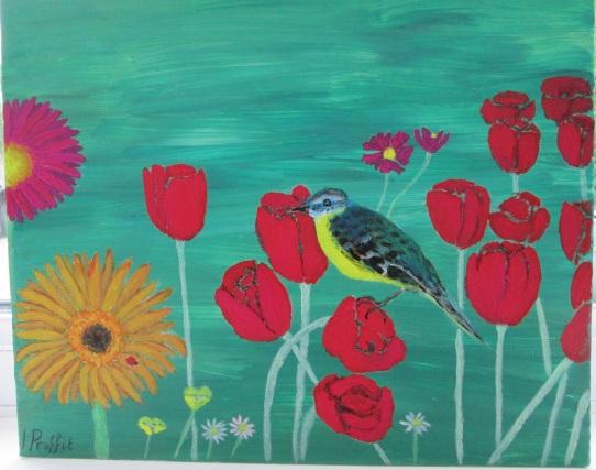 Birds and flowers - Acrylic